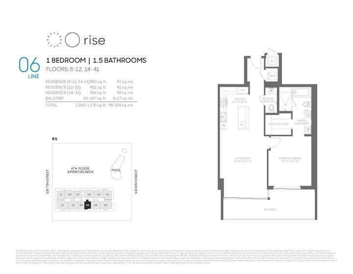 Rise BCC 06 line 1 bed 1.5 bath