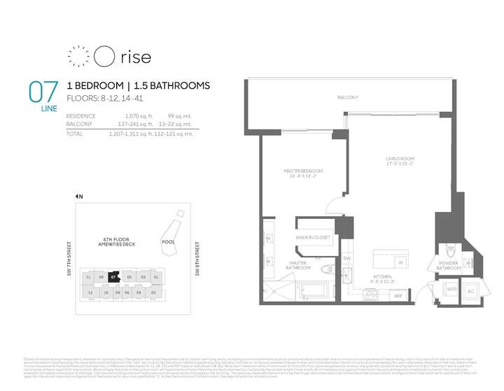 Rise BCC 07 line 1 bed 1.5 bath