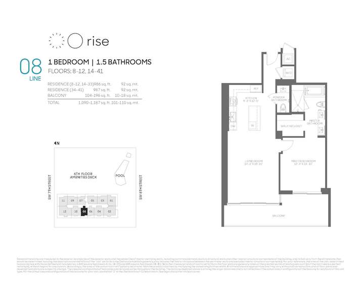 Rise BCC 08 line 1 bed 1.5 bath