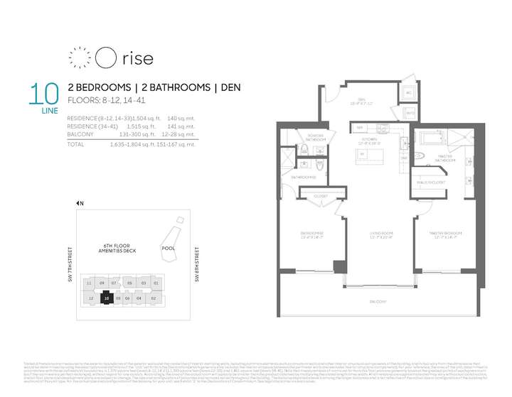 Rise BCC 10 line 2 bed 2.0 bath + den