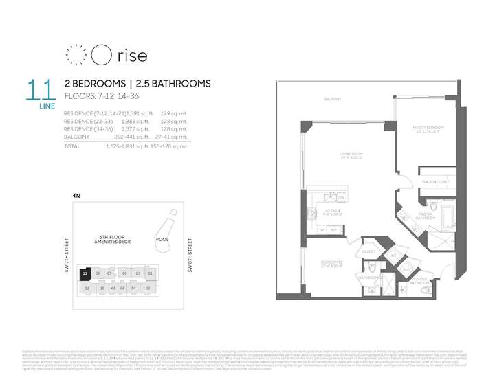 Rise BCC 11 line 2 bed 2.5 bath